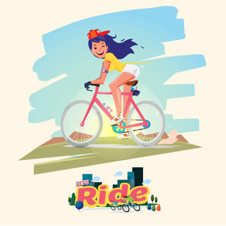 Cute women riding a  bicycle with urban scene - vector illustration