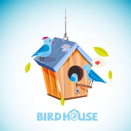 활판 인쇄 hor 헤더 디자인 - 벡터 일러스트와 함께 나무 birdhouse