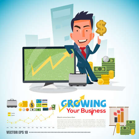 businessman with with Increasing Graph or Chart on screen. money and finance concept. character design - vector illustration Ilustrace