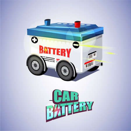 Car Battery on Wheels with typography for header design.