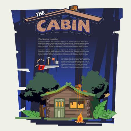 Weinig houtcabine log in het bos met hulpmiddelen die de cabine bouwen.