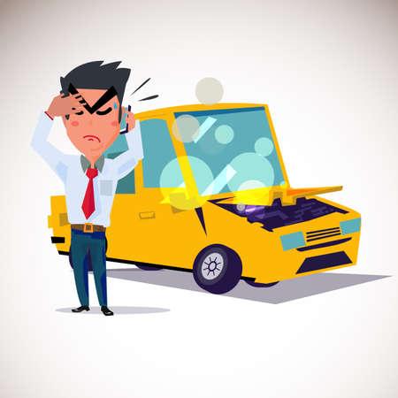 Man op de telefoon om ongeval te bellen met een auto-ongeluk achterin. Stock Illustratie