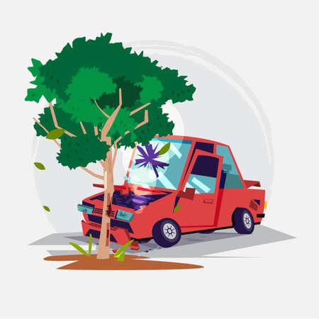 커다란 나무로 자동차 충돌. 일러스트