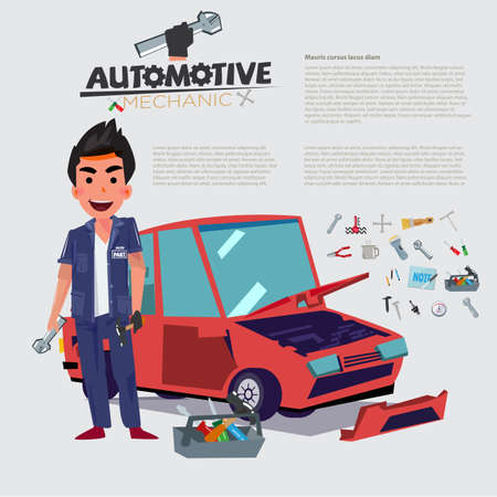 Happy Auto Mechanic character desing with car in behind. set of equipments - vector illustration
