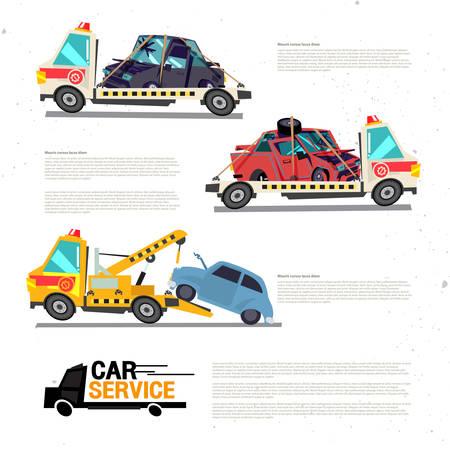 破損または損傷車とクレーン牽引トラック。車の修理サービス-ベクトルイラスト