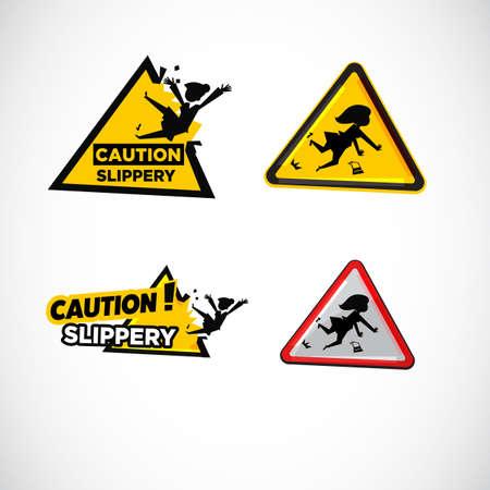 Slippery floor surface warning sign.