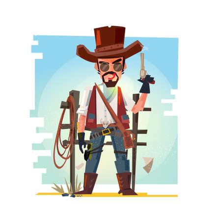 Cowboy holding his gun. Ilustração