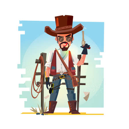 Cowboy holding his gun. Illustration