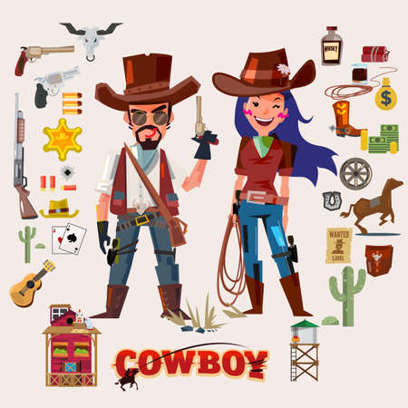 Wild west cowboy and cow girl. character design with elements.