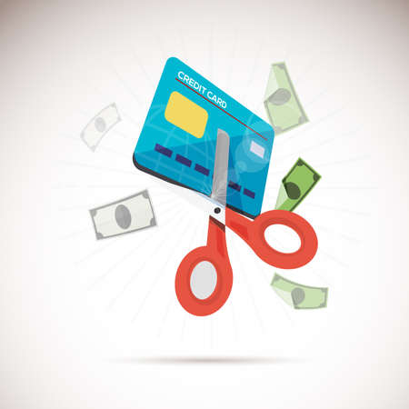 Scissors cutting credit card. Çizim
