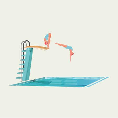 ダイビングボードに立って、ジャンプやダイビングの準備をしているスポーツ女性。  イラスト・ベクター素材