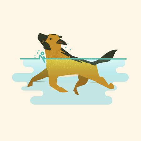 水中ベクトルイラストで泳ぐ犬