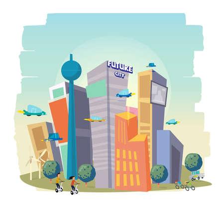City Skyscraper View met een modern gebouw. Toekomstige stad concept vectorillustratie Stock Illustratie
