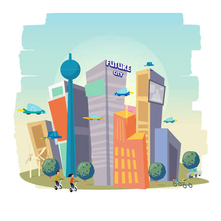 City Skyscraper View with a modern building. Future city concept vector illustration