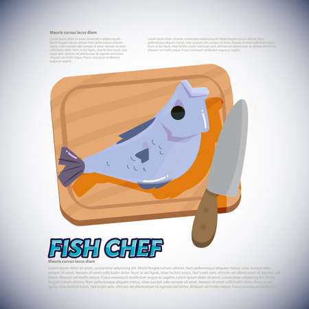 Fish with chopping block and knife. Preparing to cook  vector illustration