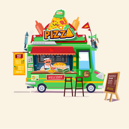 Pizza food truck.  Street food car with chef character design  vector illustration