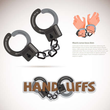 Handcuff typographic design. Captured hand chained in iron handcuff  vector illustration