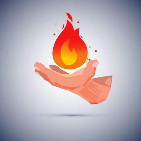 Human hand with fire. Wizard creating a magical fire  vector illustration