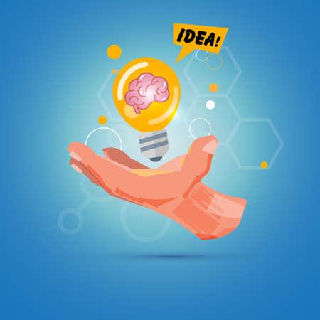 Hand with light bulb of idea. creativity concept - vector illustration