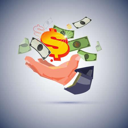 Mano del hombre de negocios con dinero. creando el concepto de dinero. - ilustración vectorial