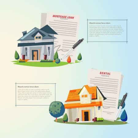 Mooi huis met hypotheekaanvraagformulier, leningformulier. overeenkomst voor een huis in een makelaar concept - vectorillustratie - Vector van clairev