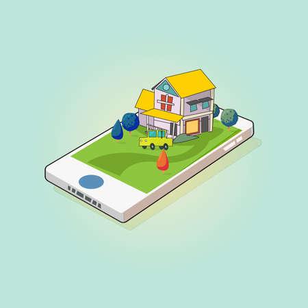 スマートフォンの画面上のホームと車。モバイル不動産-ベクターイラスト