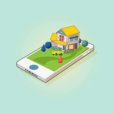 Home and car on smartphone screen. mobile real estate - vector illustration