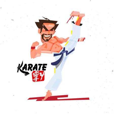 Karate kick. character design with typographic for design your content - vector illustration