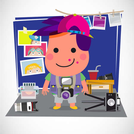 Photographer boy concept. Boy with various of camera and equipment in his bed room. Favorite and activity concept - vector illustration Çizim