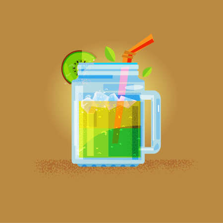Kiwi juice in masin jar - vector illustration.