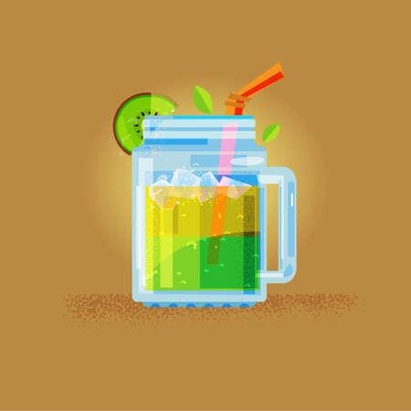 Kiwi sap in masin pot - vector illustratie. Stock Illustratie