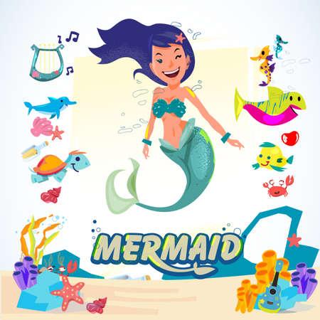 Meermin. karakterontwerp met set dieren en koralen. aquatisch leven concept - vectorillustratie Stock Illustratie