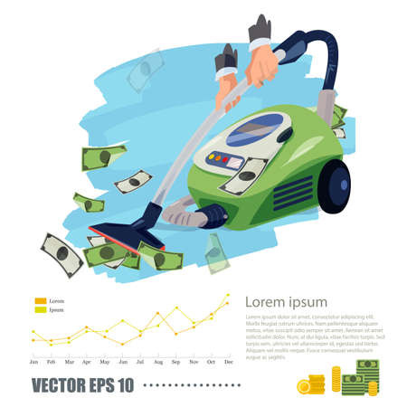 Vacuum cleaner sucking money. rich and business concept - vector illustration. Illustration