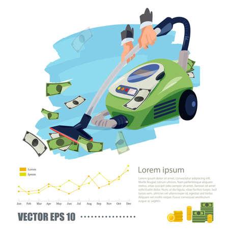 Stofzuiger zuigen geld. rijk en bedrijfsconcept - vectorillustratie.