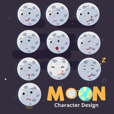 Emotional moon. character design with typographic - vector illustration. Illustration
