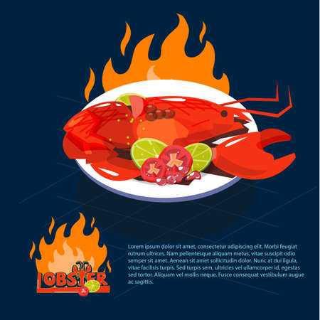 Lobster with parsley and lemon slices  on dish. seafood concept - vector illustration. Çizim