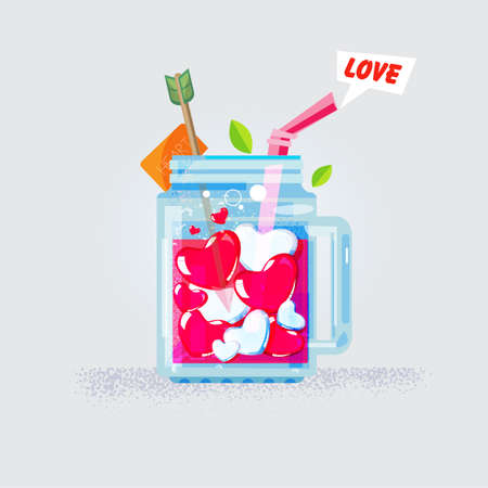 Love heart in mason jar. love and juice concept. Congratulation on Valentines Day - vector illustration.