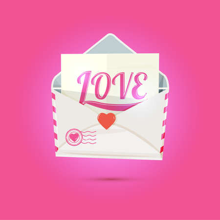 White envelope with little heart and Love typographic. Valentine and love concept - vector illustration.