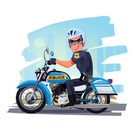 Police officer riding motorcycle with city in background. character design. Motorcycle Cop - vector illustration