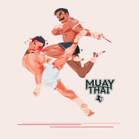 Muay Thai. Thai Boxing. combat sport and martial arts concept. character design with typographic - vector illustration