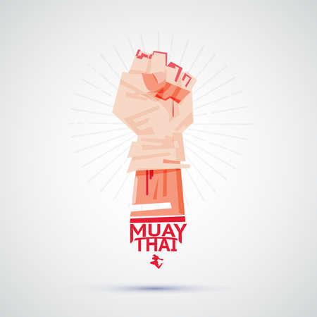 Combattente Muay Thai con nastro adesivo intorno alla mano che si prepara a combattere. logotipo, simbolico di Muay Thai - illustrazione vettoriale Archivio Fotografico - 86482126