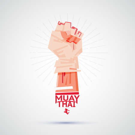 Muay Thai fighter with tying tape around his hand preparing to fight. logotype, symbolic of Muay Thai - vector illustration