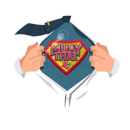 man open shirt to show Muay Thai logo in comic style, Thai boxing concept - vector illustration Иллюстрация