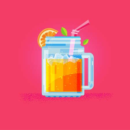 Orange juice in mason jar with orange slice. Detox Juice concept - vector illustration
