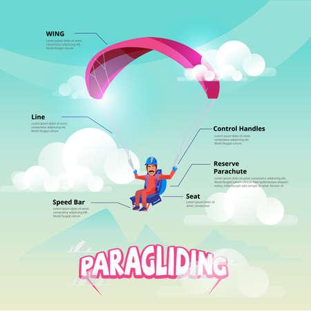 Paraglider. Man manoeuvreert een Paraglider. infographic - vectorillustratie
