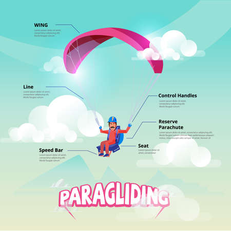 Paraglider. Man maneuvering a Paraglider. infographic - vector illustration Illustration