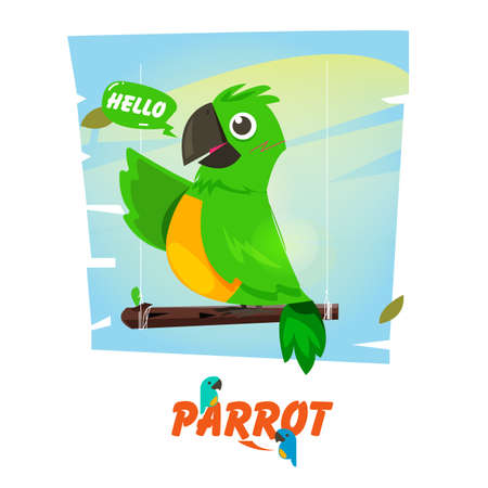 parrot on a branch with speech bubble. character design. mascot concept - vector illustration