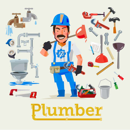 Plumber service profession with tools to fix. Character design - vector illustration Çizim