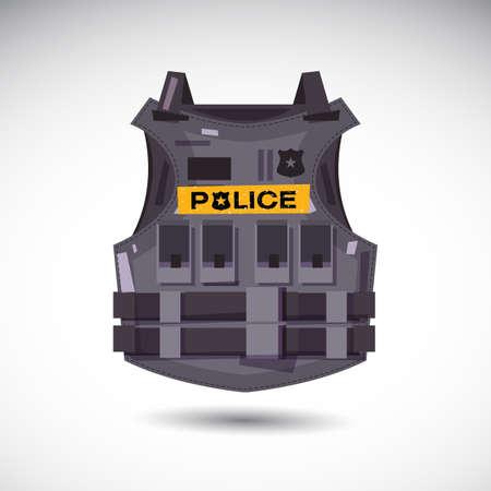 警察本文 - ベクトル図のベクトル図と防弾チョッキ