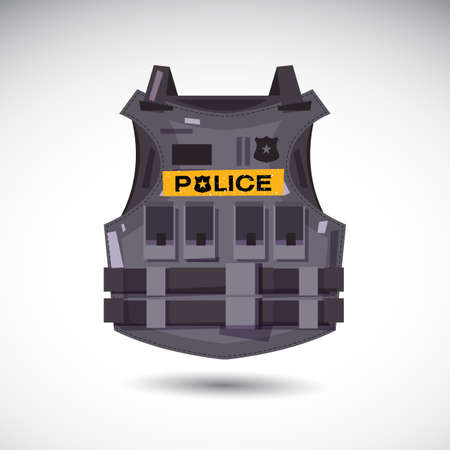 Bulletproof vest with police text - vector illustration vector illustration